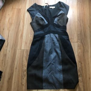 Rebecca Taylor fitted grey and black dress